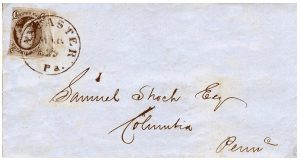A 5 cts. 1847 from a small Pennsylvania town.  Alexander [THE UNITED STATES 1847 ISSUE: A COVER CENSUS] records five 5 cts. 1847 covers from Lancaster. This cover is not among those listed. According to the Official Record Book of the Post Office Department [July 1, 1847 - June 30, 1851], 1,600 5 cts. stamps were delivered to Lancaster.